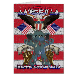 4th July with Liberty bell and patriotic cat Greeting Card