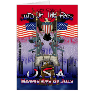 4th July with Liberty bell and patriotic cats Greeting Card