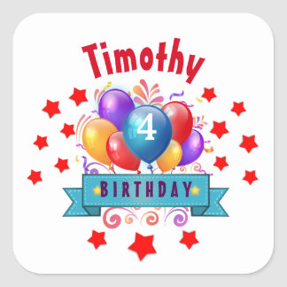 4th KIDS Birthday Festive Colorful Balloons B10BZ Square Sticker