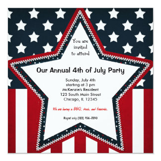 4th of July 13 Cm X 13 Cm Square Invitation Card
