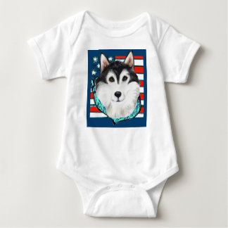 4th of July Alaskan Malamute Baby Bodysuit