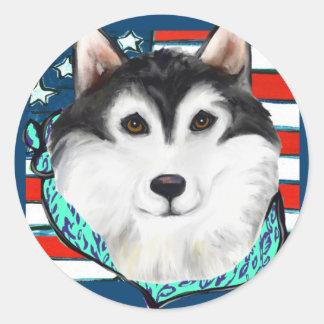 4th of July Alaskan Malamute Classic Round Sticker