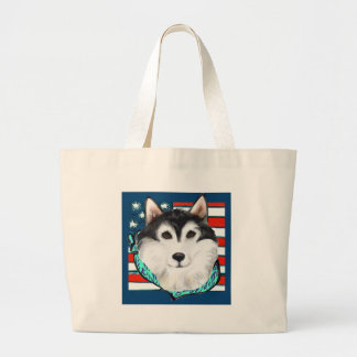 4th of July Alaskan Malamute Large Tote Bag