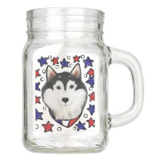 4th of July Alaskan Malamute Mason Jar