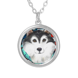 4th of July Alaskan Malamute Silver Plated Necklace