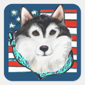 4th of July Alaskan Malamute Square Sticker