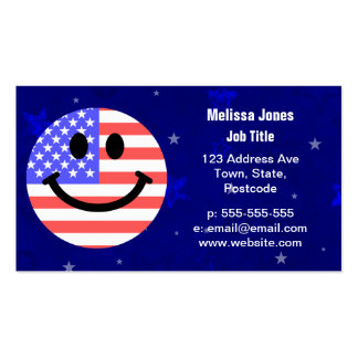 4th of July American Flag Smiley face Business Card