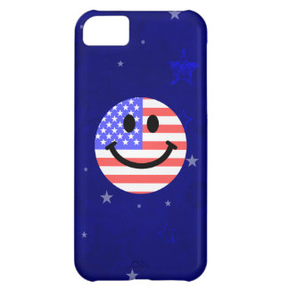 4th of July American Flag Smiley face Cover For iPhone 5C
