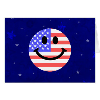 4th of July American Flag Smiley face Greeting Card