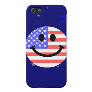 4th of July American Flag Smiley face Cases For iPhone 5