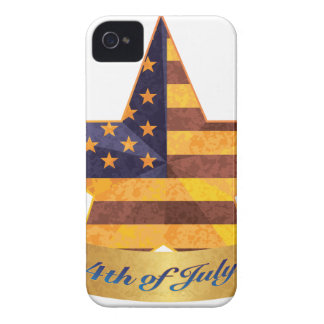 4th of July Banner and Star with USA Flag Texture Case-Mate iPhone 4 Case