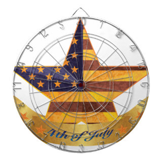 4th of July Banner and Star with USA Flag Texture Dartboard