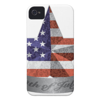 4th of July Banner and Star with USA Flag Texture iPhone 4 Case