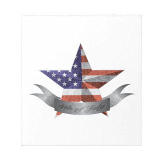 4th of July Banner and Star with USA Flag Texture Notepad