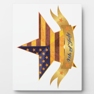 4th of July Banner and Star with USA Flag Texture Plaque