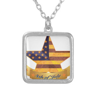 4th of July Banner and Star with USA Flag Texture Silver Plated Necklace