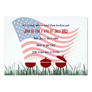 4th of July Barbeque Cookout 9 Cm X 13 Cm Invitation Card