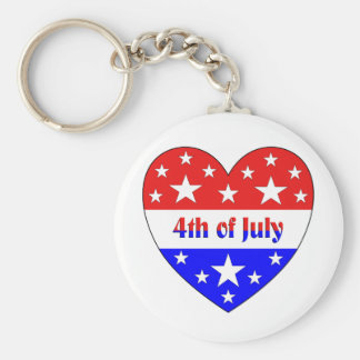 4th of July Basic Round Button Key Ring