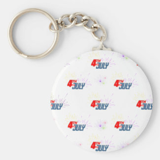 4TH-OF-JULY BASIC ROUND BUTTON KEY RING