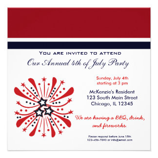 4th of July BBQ Party Personalized Invitation