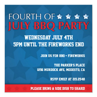 "4th of July BBQ Party Invite 5.25"" Square Invitation Card"