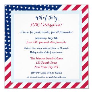 4th of July BBQ Party Patriotic Stars Stripes Flag 13 Cm X 13 Cm Square Invitation Card