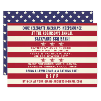 4th of July BBQ Party Patriotic Stars Stripes Flag Card