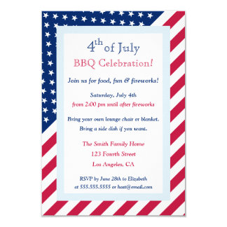 4th of July BBQ Party Patriotic Stars Stripes Flag 9 Cm X 13 Cm Invitation Card