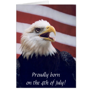 4th of July b'day eagle & flag Card