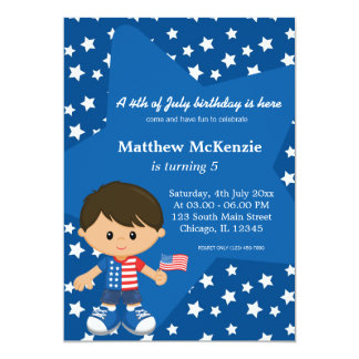 4th of July birthday boy 5x7 Paper Invitation Card