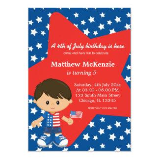 """4th of July birthday boy 5"""" X 7"""" Invitation Card"""