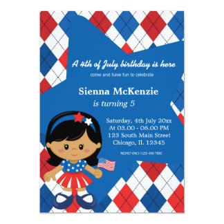 4th of July birthday girl Announcements