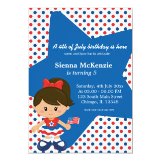 4th of July birthday girl 5x7 Paper Invitation Card