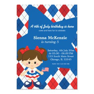 4th of July birthday girl Personalized Invites