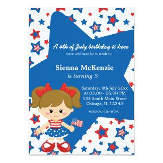 4th of July birthday girl 5x7 Paper Invitation Card