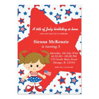 "4th of July birthday girl 5"" X 7"" Invitation Card"