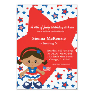 4th of July birthday girl Personalized Announcements