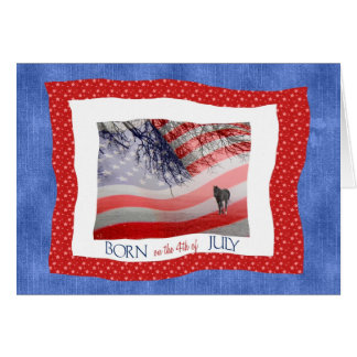 4th of July Birthday in Red White and Blue Card