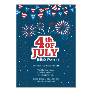 4th of July Celebration BBQ Party Invitation