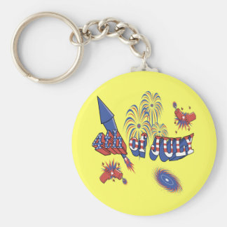 4th of July Celebrations Basic Round Button Key Ring