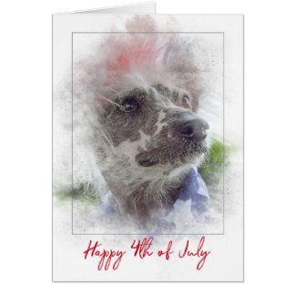 4th of July-Chinese Crested Hairless dog Card