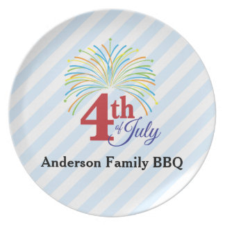 4th of July Colorful Fireworks Personalized Plate