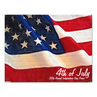 4th of July  Company Party Independence Day 11 Cm X 14 Cm Invitation Card