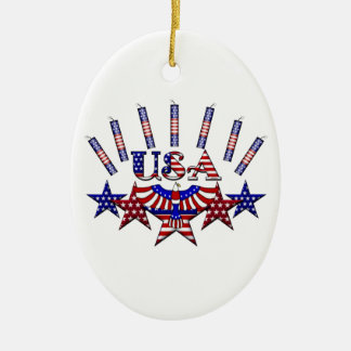 4th of July Crackers Ceramic Oval Decoration