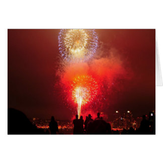 4th of July Evening Fireworks. Greeting Card