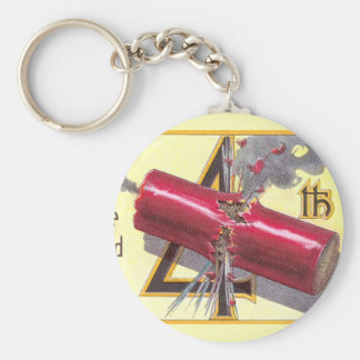 4th of July Firecracker Explodes Basic Round Button Key Ring