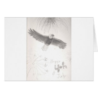 4'th of july fireworks bald eagle drawing eliana.j card