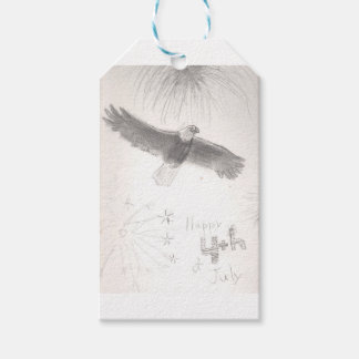 4'th of july fireworks bald eagle drawing eliana.j gift tags