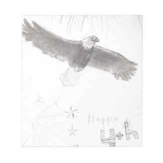 4'th of july fireworks bald eagle drawing eliana.j notepad