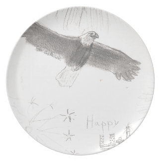 4'th of july fireworks bald eagle drawing eliana.j party plate